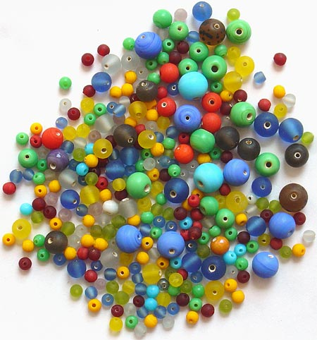 Round Frost Glass Beads Mix<br>(4mm - 10mm)