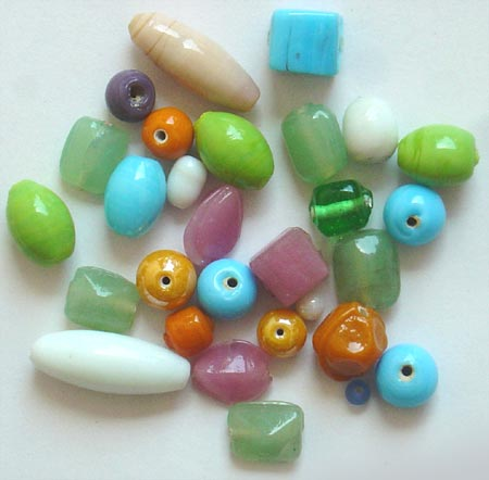 Opaque Plain Glass Beads Mix<br>Type I