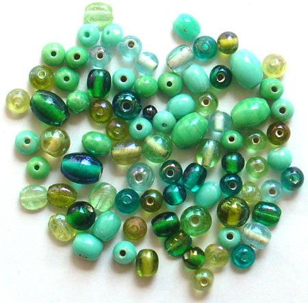 Green Color Plain & Polish Glass Beads Mix<br>(6mm - 12mm)