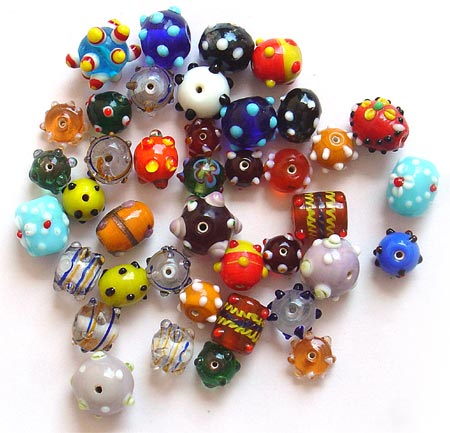 Fancy Dotted Glass Beads Mix
